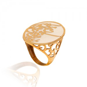 انگشتر طلا زنانه با طرح شعر کد cr377