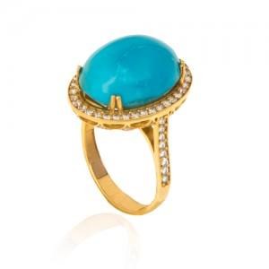 انگشتر طلا زنانه با سنگ فیروزه اصل و نگین کد cr378