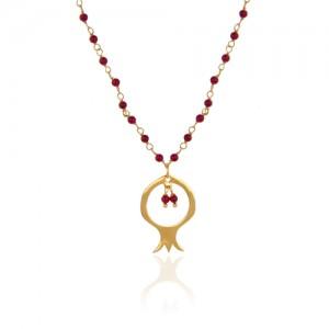 گردنبند طرح انار با زنجیر دست ساز طلا و سنگ گارنت سرخ کد XP127