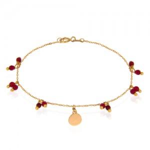 دستبند طلا زنانه با آویز پولک و سنگ کد xb927
