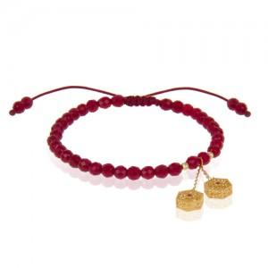 دستبند طلا با آویز فیوژن نگین دار و گوی البرنادو کد xb928