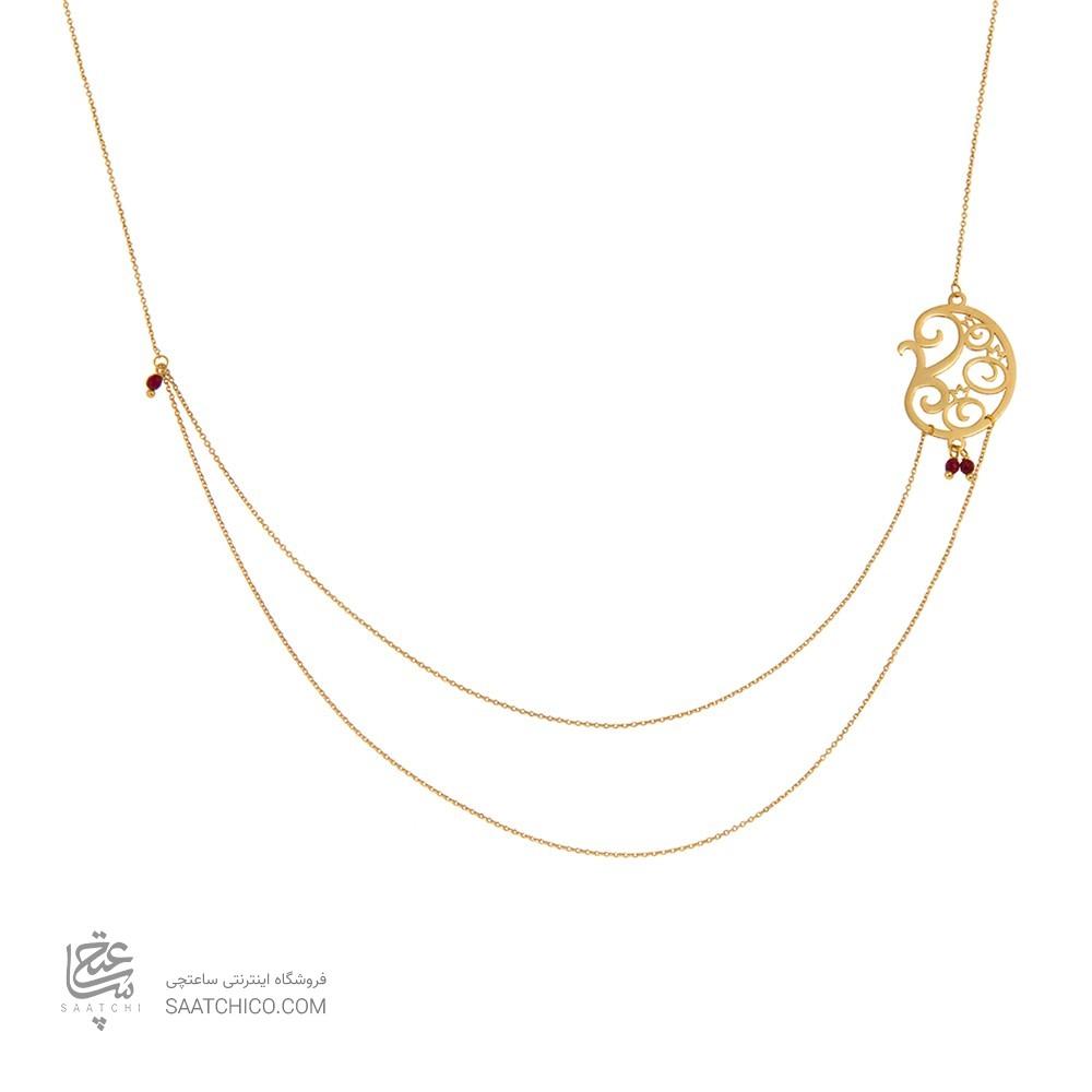 گردنبند طلا زنانه طرح بته جقه و انار کد xn303