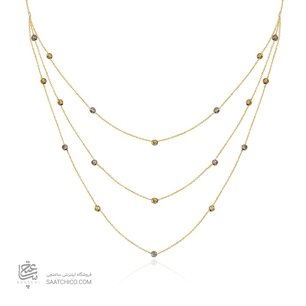 گردنبند طلا زنانه سه لایه با گوی البرنادو کد cn364