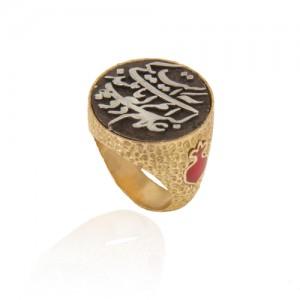 انگشتر طلا زنانه با سکه نقره طرح یلدایی کد cr379