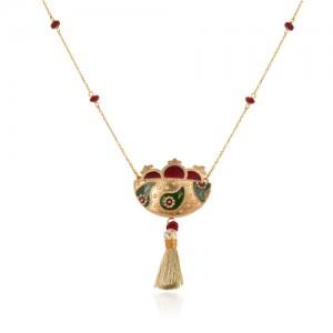 گردنبند طلای زنانه طرح سبد انار یلدایی کد xn307