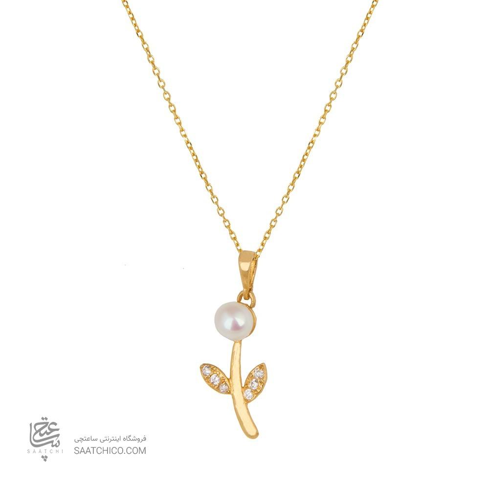 آویز طلا زنانه طرح شاخه گل با مروارید و نگین کد xp217