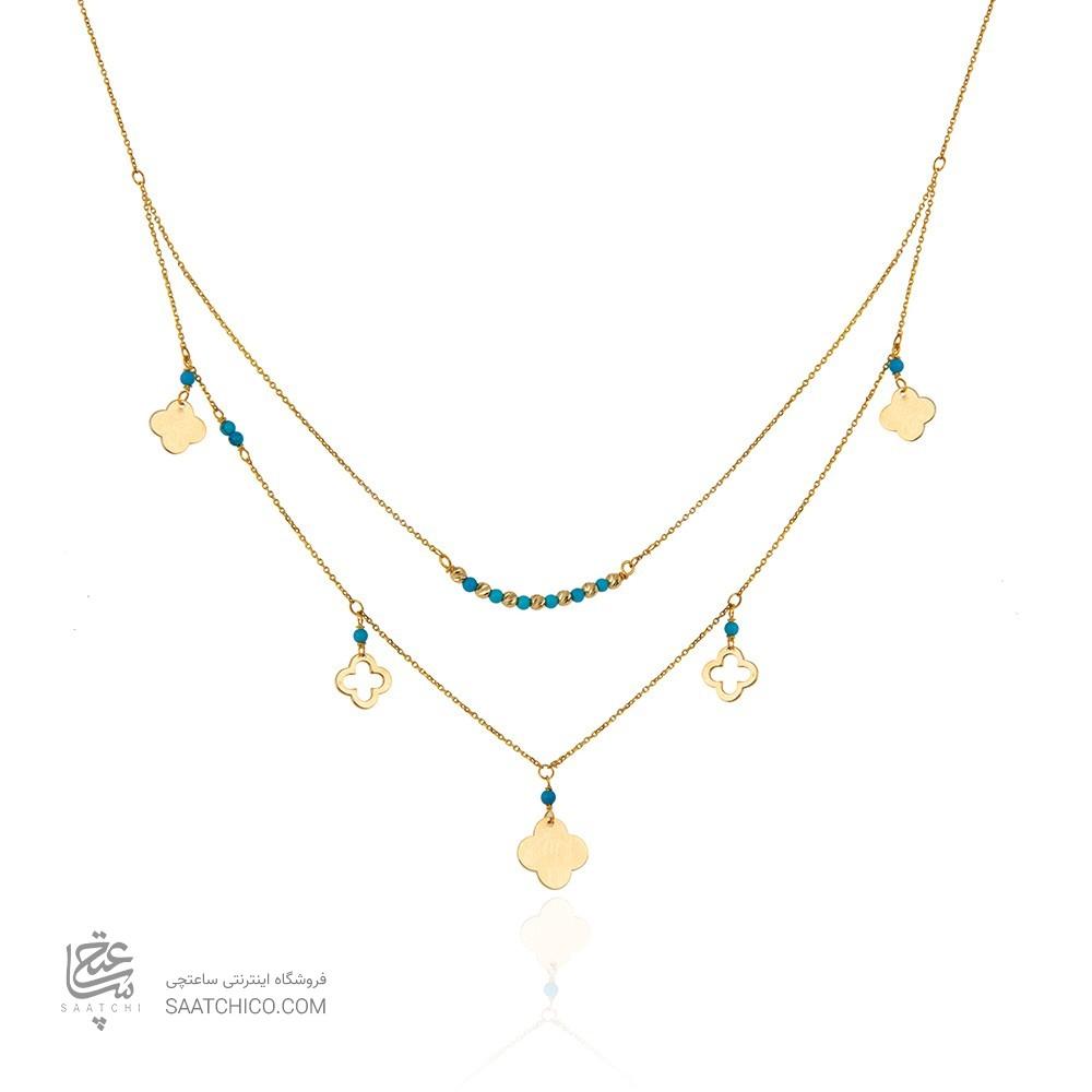 گردنبند طلا زنانه با پولک طرح ونکلیف و سنگ فیروزه کد xn308