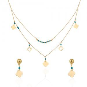 نیم ست طلا زنانه با پولک طرح ونکلیف و سنگ فیروزه کد xs219