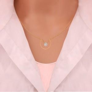 گردنبند طلا زنانه طرح هندسی با مروارید کد xn121