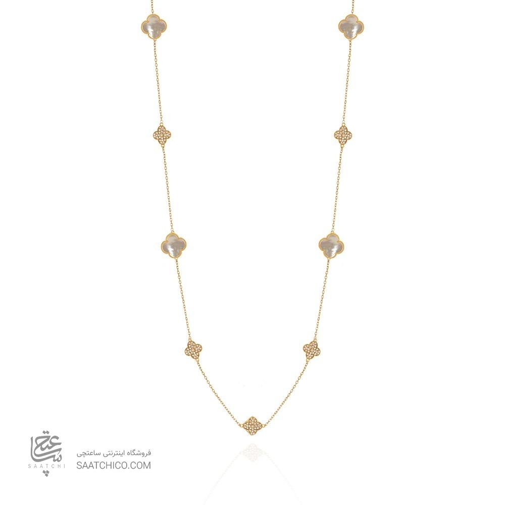 گردنبند رولباسی طلا زنانه طرح ونکلیف با صدف و نگین کد xn609