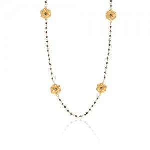 گردنبند رولباسی طلا زنانه طرح فیوژن با نگین کد xn619