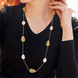 گردنبند رولباسی طلا زنانه طرح فیوژن با مروارید باروک کد xn621