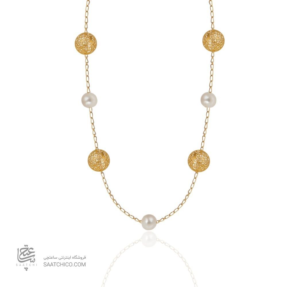 گردنبند رولباسی طلا زنانه طرح فیوژن با مروارید کد xn622