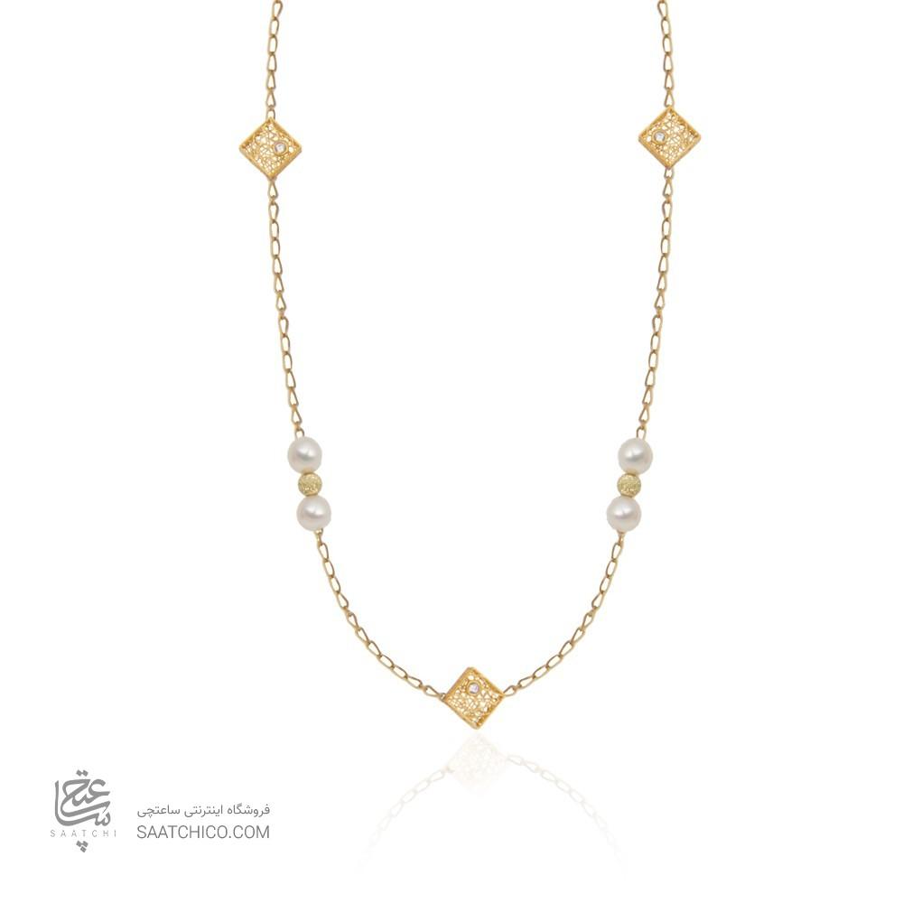 گردنبند رولباسی طلا زنانه طرح فیوژن با نگین و مروارید کد xn624
