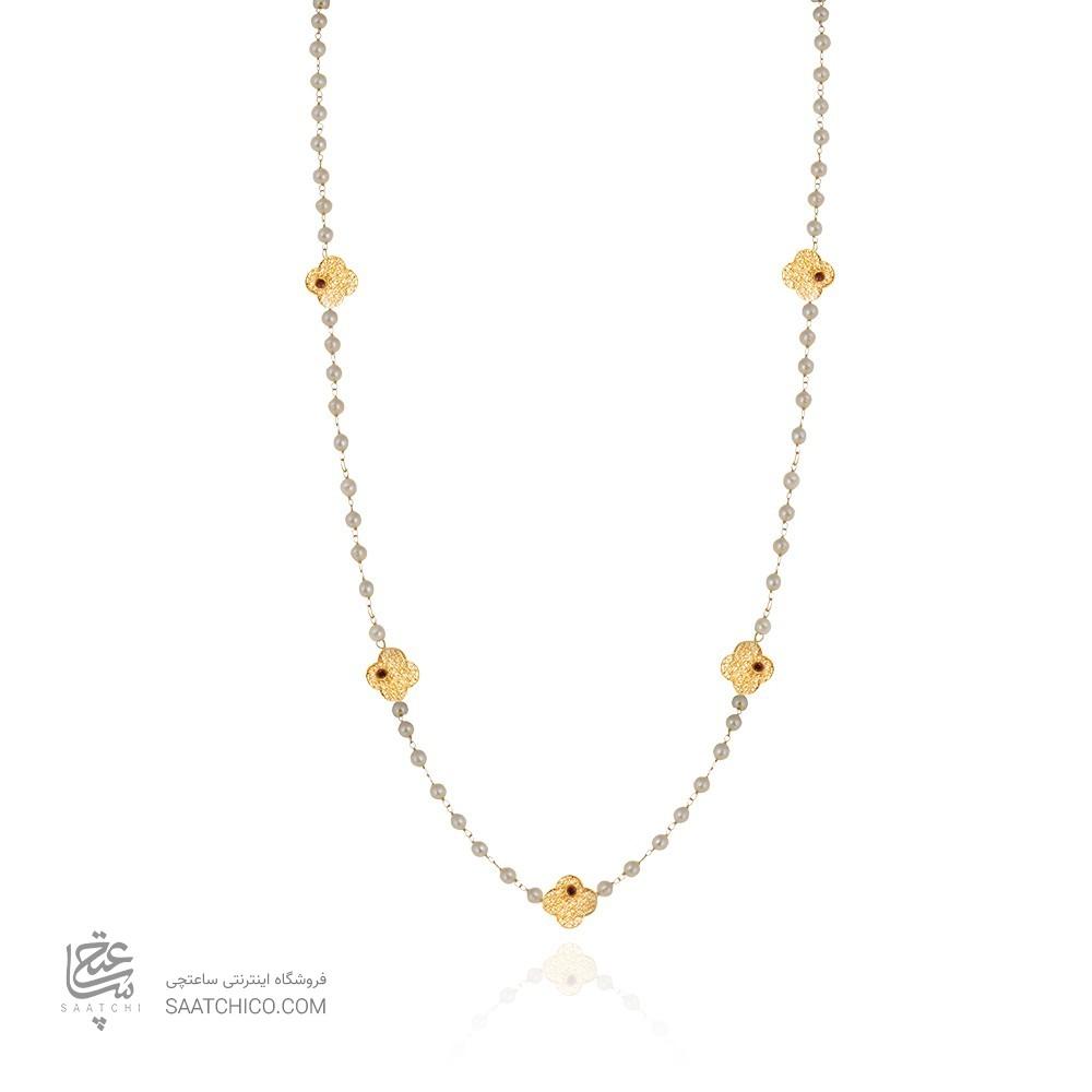 گردنبند رولباسی طلا زنانه طرح فیوژن با نگین و مروارید کد xn610