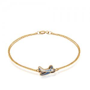 دستبند طلا کودک طرح هواپیما کد kb318