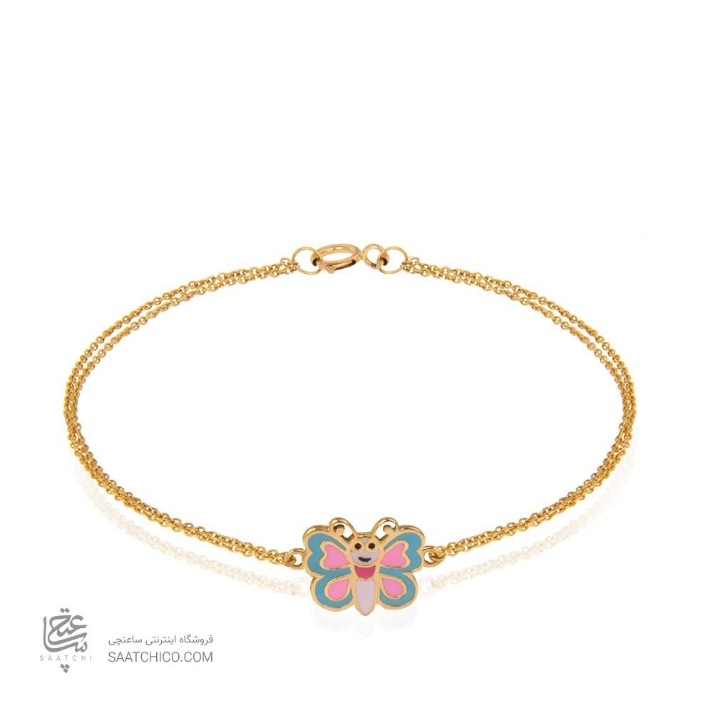 دستبند طلا کودک طرح پروانه کد kb320