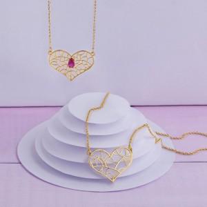 گردنبند طلا زنانه طرح قلب نگیندار کد cn366