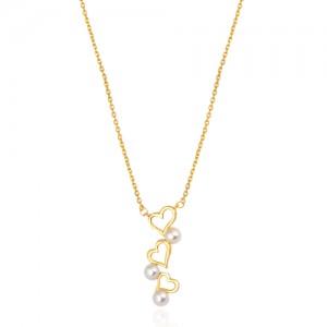گردنبند طلا با مروارید کد xn136