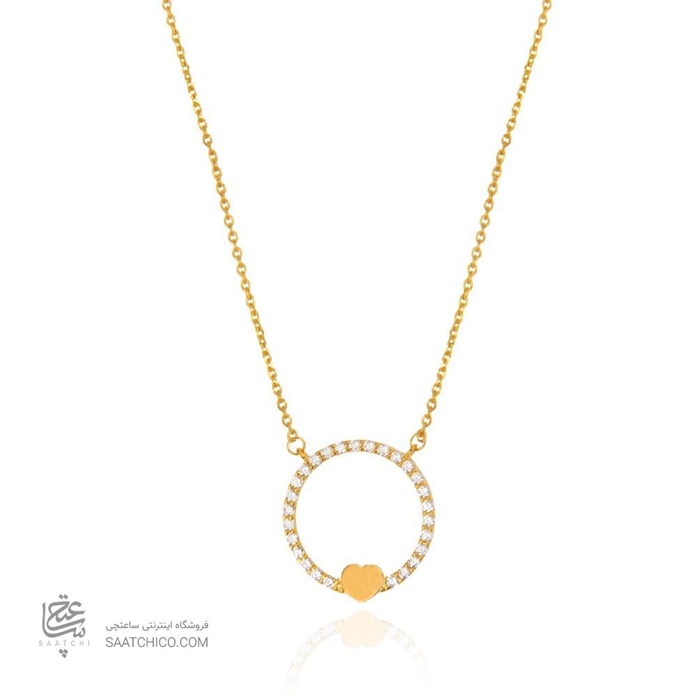 گردنبند طلا زنانه طرح عشق ولنتاین با نگین کد cn367