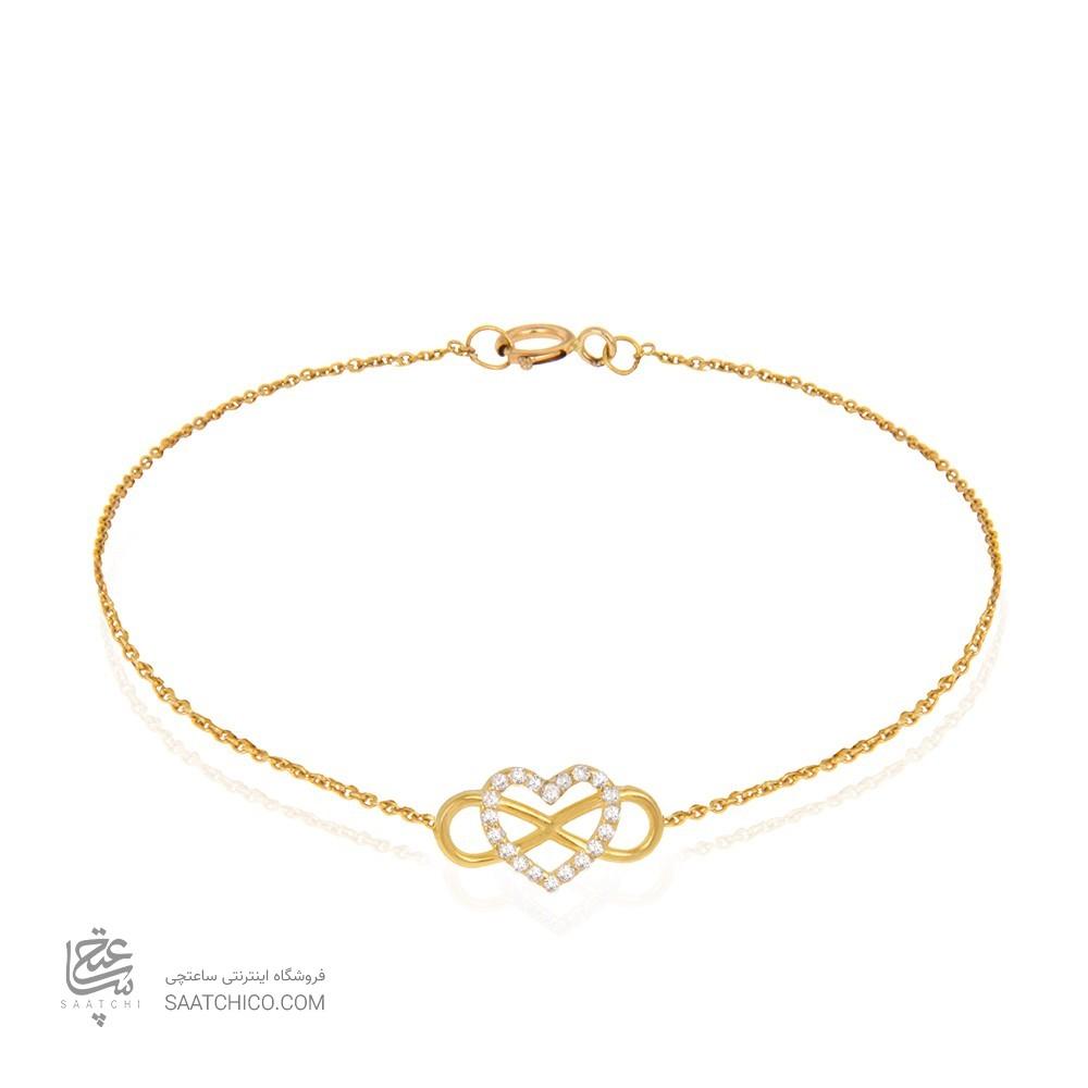 دستبند طلا زنانه طرح عشق بی نهایت ولنتاین با نگین کد cb339