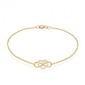 دستبند طلا طرح قلب و بینهایت کد cb339