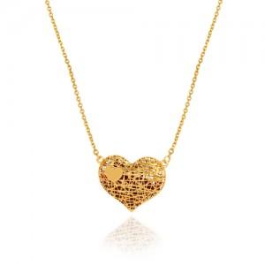 گردنبند طلا زنانه قلب فیوژن توپر کد cn371