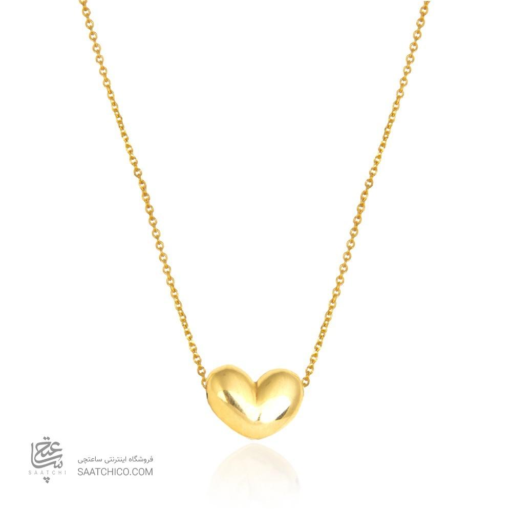 گردنبند طلا زنانه طرح قلب رو رو کد cn372