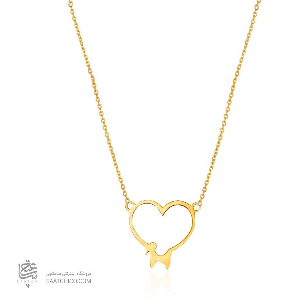 گردنبند طلا زنانه طرح قلب و قوچ کد ln812