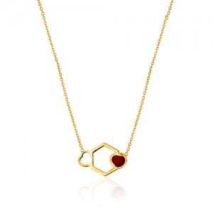 گردنبد طلا زنانه طرح هندسی ولنتاین کد ln813