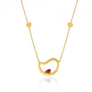 گردنبند طلا زنانه طرح مرغ عشق  ولنتاین با نگین کد ln814