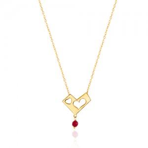 گردنبند طلا طرح قلب با آویز  کد ln816
