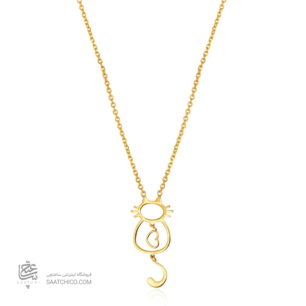 گردنبند طلا زنانه طرح گربه و قلب ولنتاین کد ln817