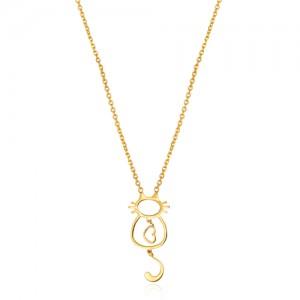 گردنبند طلا زنانه طرح گربه و قلب کد ln817