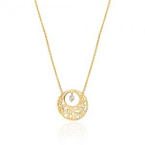 گردنبند طلا زنانه طرح شعر ولنتاین با مروارید کد ln818