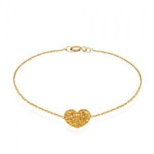 دستبند طلا زنانه طرح قلب فیوژن کد cb343