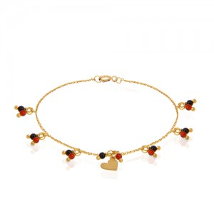 دستبند طلا زنانه طرح قلب ولنتاین با سنگ کد xb931