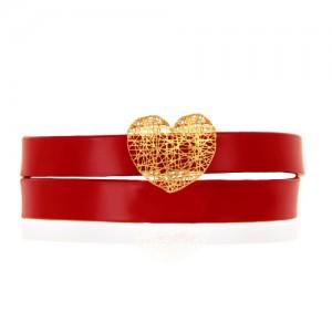 دستبند چرم و طلا طرح قلب فیوژن کد xb939