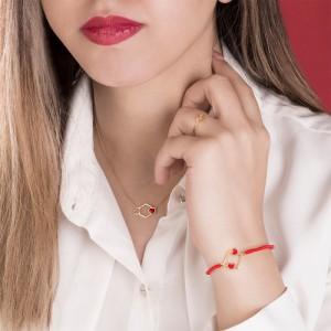 دستبند طلا زنانه طرح قلب ولنتاین کد xb942