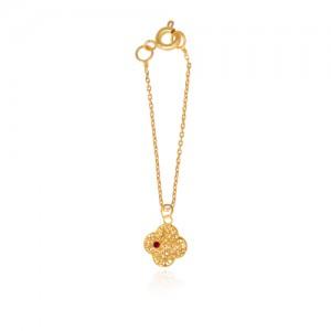 آویز ساعت طلا زنانه طرح گل چهار پر ونکلیف با نگین کد wp332