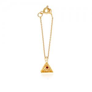آویز ساعت طلا زنانه طرح هندسی با نگین کد wp336