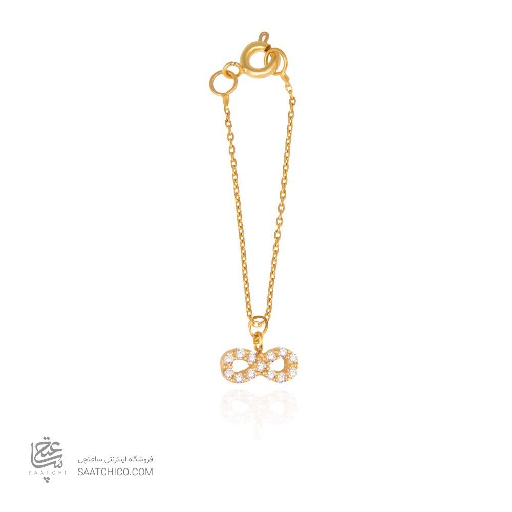 آویز ساعت طلا زنانه طرح بی نهایت با نگین کد wp348