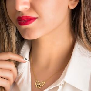 گردنبند طلا زنانه طرح پروانه با نگین کد cn374