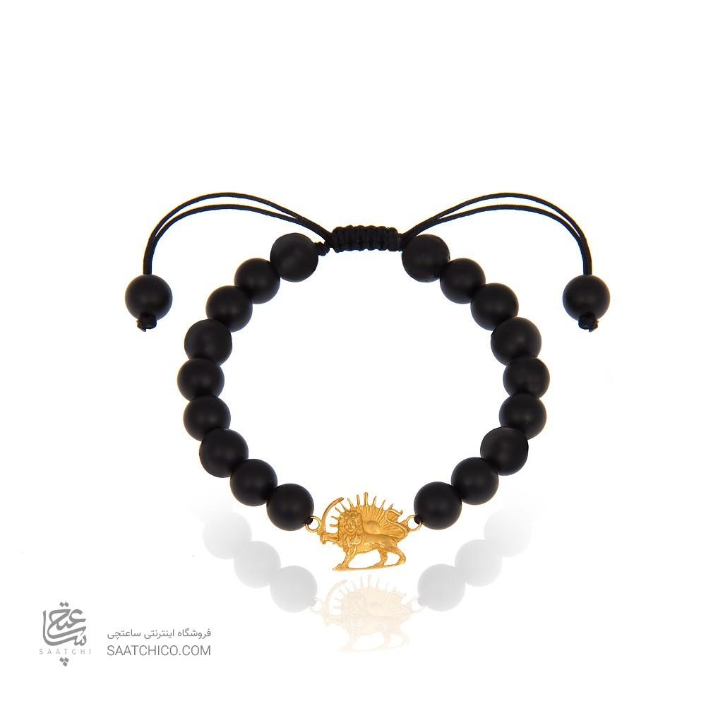 دستبند طلا مردانه طرح شیر و خورشید کد mb101
