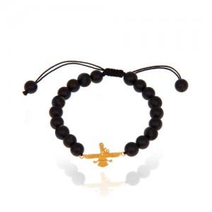 دستبند طلا مردانه طرح فروهر کد mb102