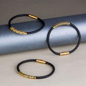 دستبند چرم و طلا مردانه کد MB106