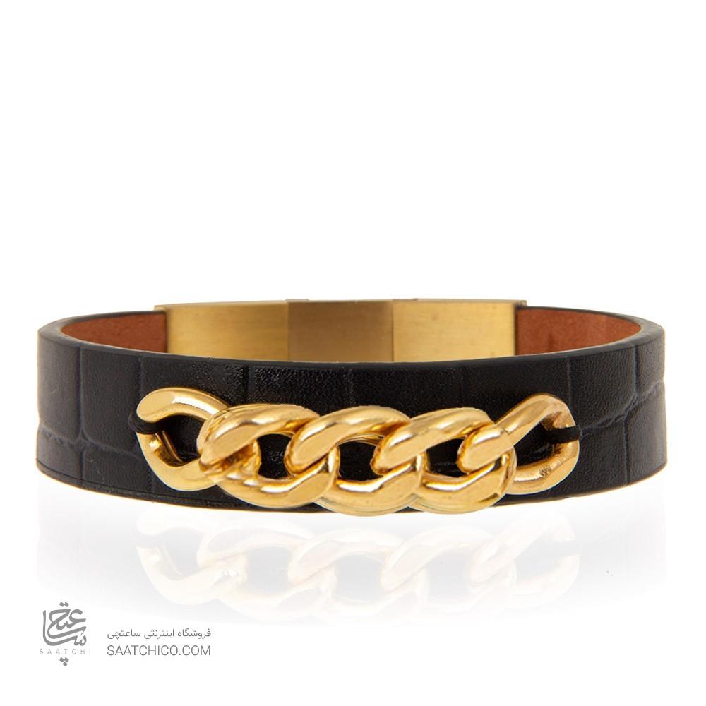 دستبند چرم و طلا مردانه طرح کارتیه کد mb111