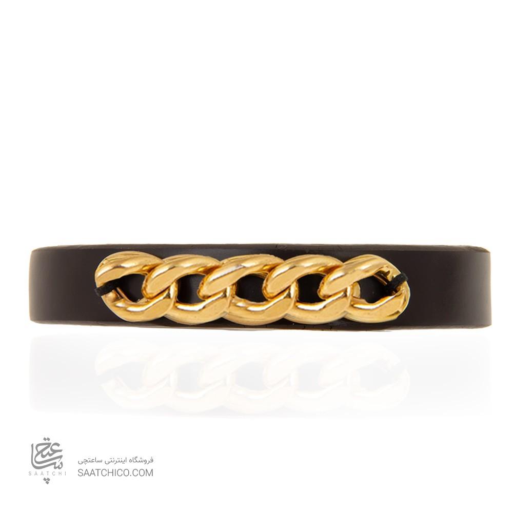 دستبند چرم و طلا مردانه طرح کارتیه کد mb112