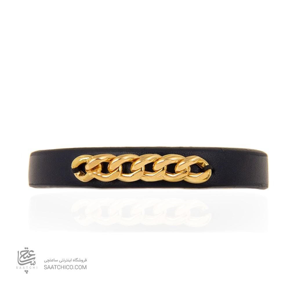 دستبند چرم و طلا مردانه طرح کارتیه کد mb113