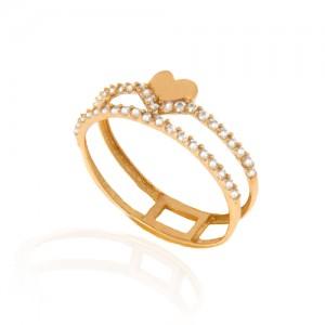 انگشتر طلا زنانه طرح قلب با نگین کد cr384